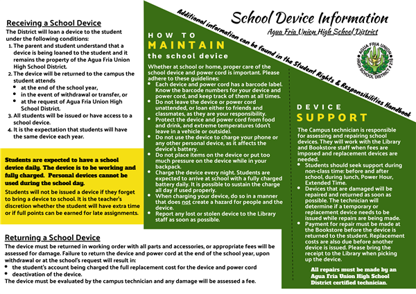 School Device Information flyer, page 1