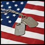 American flag and dog tags