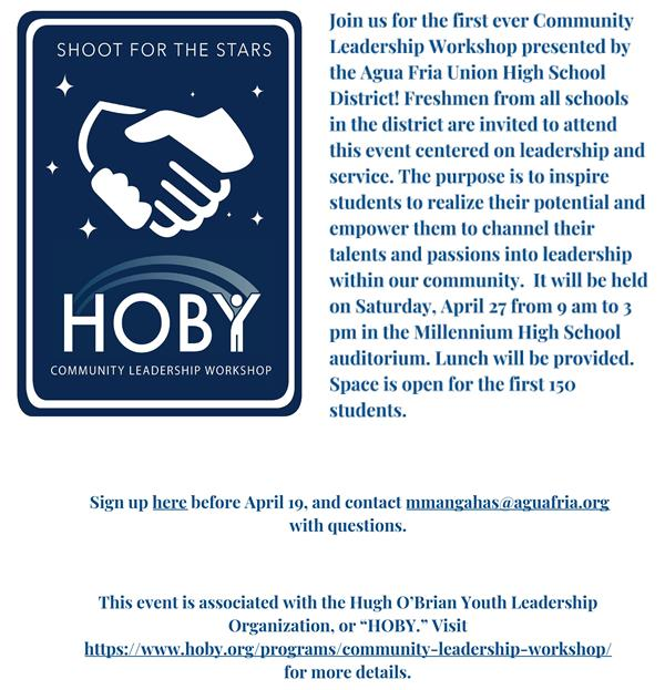 Flyer for HOBY Community Leadership Workshop