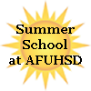 Sun background with Summer School at AFUHSD