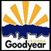 City of Goodyear logo. Sun rays shining over building with Goodyear underneath
