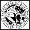 Arizona State Seal of the Arts, Proficiency. Images of drama & comedy masks, a dancer, music notes